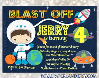 Blue Space Birthday - Out of this world - Astronaut PRINTABLE Invitation - DIGITAL FILE