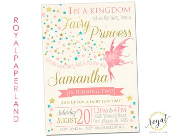 FAIRY PRINCESS Birthday Invitation, Pink and Gold Party, teal stars party