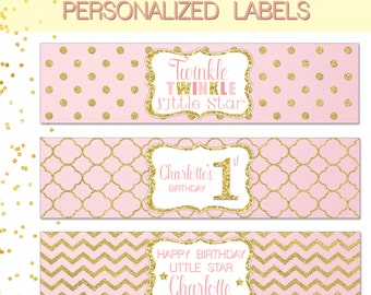 BOTTLE LABELS ~ Personalized pink and gold labels - twinkle twinkle little star birthday decoration - Printable Files