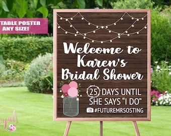 Rustic Bridal Shower Welcome Sign - Bridal Shower decoration - Welcome sign - Bridal Brunch Sign - Bridal Tea Sign - PRINTABLE
