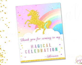 UNICORN Birthday Party Note Card / Rainbow / Whimsical Birthday Party / Pastel Girl Birthday Party / Unicorn Thank you note card - Printable