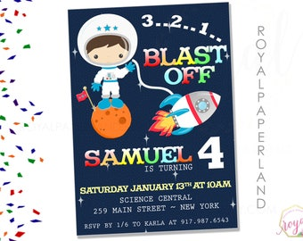 Astronaut Boy Birthday Invitation - Out of this world birthday party - Boy Birthday Invitation - DIGITAL FILE - Printable