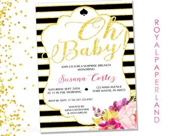 Baby Shower Invitation - Kate Spade Party Invitation - Black and Gold Party Invitation - Baby Shower Invitation - Printable DIGITAL FILE