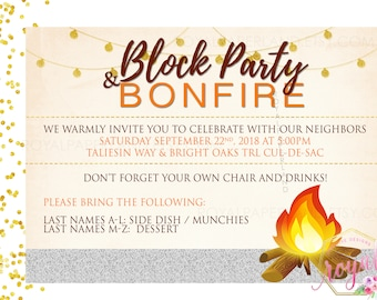 Block Party and Bonfire Invitation - Neighborhood Party Invite - Block Party - Fall Neighborhood Party - Fall Party Printable - DIGITAL FILE