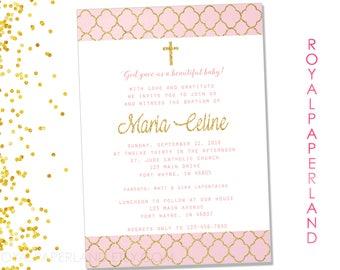 Baptism Invitation - First Communion Invitation - Pink and Gold Invitation - Printable Digital File