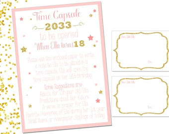 TIME CAPSULE Sign & Note Cards- gold, gliter and pink -  Twinkle Twinkle Little Star Theme - Printable