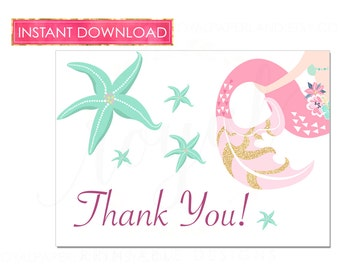 INSTANT DOWNLOAD - Mermaid Birthday - Under the Sea Birthday Thank You Note Cards - Princess Mermaid Party - Printable File