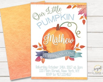 Little Pumpkin Invitation, Turning One Invitation, Printable Birthday Invitations, Baby Boy First Birthday Invitation, PRINTABLE FILE ONLY