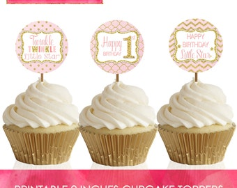 INSTANT DOWNLOAD - Printable 2inches Cupcake Toppers - Twinkle Twinkle Little Star Theme - 1st Birthday - Party Decor