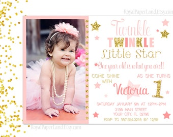 Twinkle Twinkle Little Star Invitation - PINK AND GOLD Party Invitation- Digital File