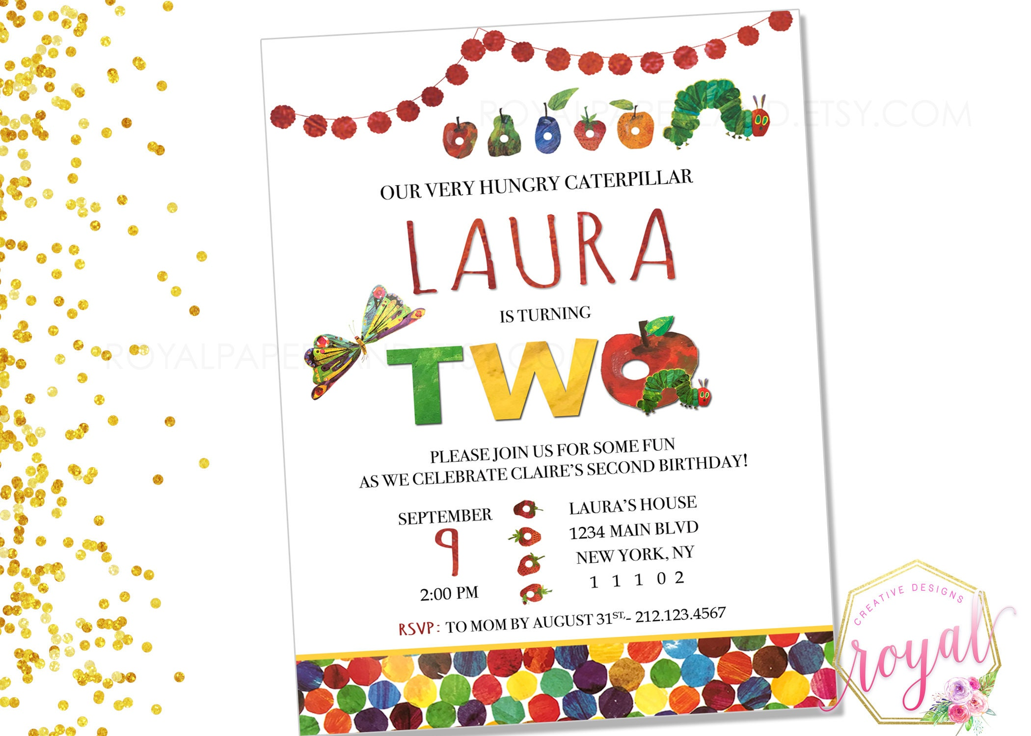 Very Hungry Caterpillar Birthday Invitation Hungry | Etsy