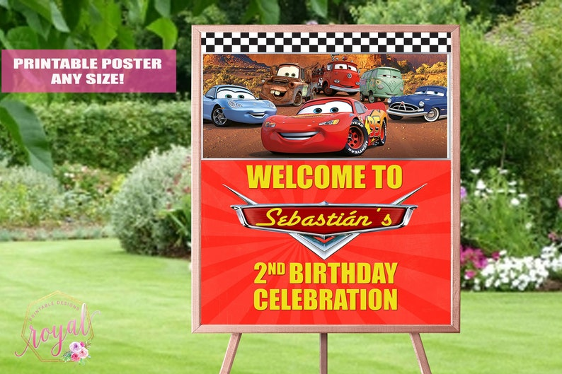 Cars Theme Welcome Sign