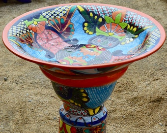 Biggest  Talavera Mexican Pottery BIRD BATH