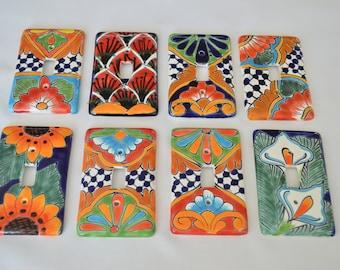 "1 Talavera Mexican Pottery 3"" X 5"" light single switch wall plate, wall art"