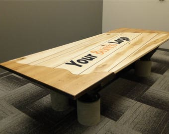 Custom Boardroom Table, Solid Wood Top, Steel I Beam Base, Concrete Footings