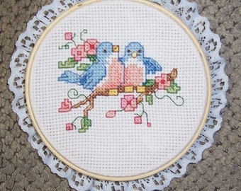 Counted Cross Stitch, Two Blue Birds Sitting on a Branch