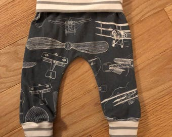 Vintage Faded Grey Antique Airplane Cuff Pants with Grey Stripe Accents Size 0/3 Month