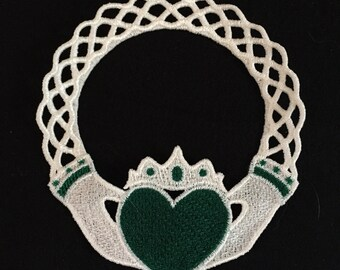 "Off-White /""Claddagh/"" Machine Embroidered Lace Doily or Ornament"