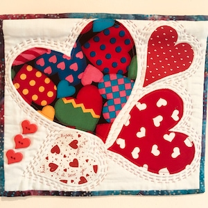 Hearts,Love and Kisses Art Quilt wall hanging