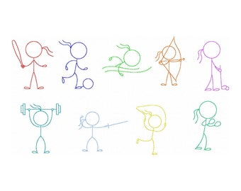 Stick Figures Couple Kissing Embroidery Design Girl And