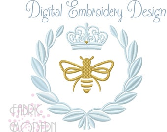 Modern French Queen Bee Laurel Embroidery Design #1076