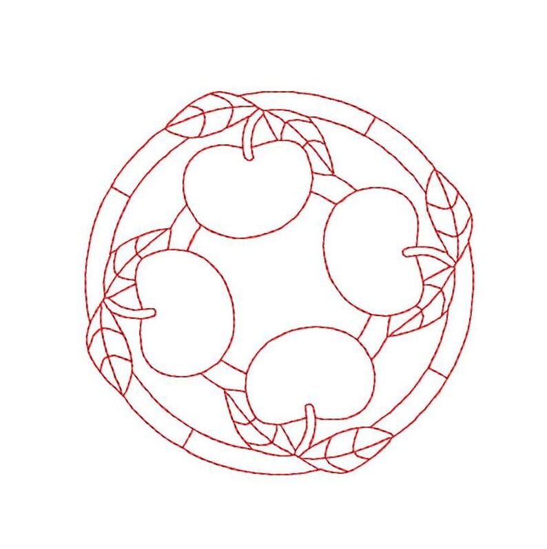Machine Embroidery Design Continuous Line Apple Mandala Etsy