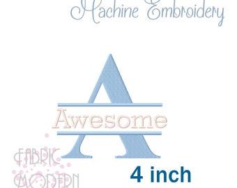 Times SPLIT MONOGRAM Embroidery Font Design 4 inch  #1118-4