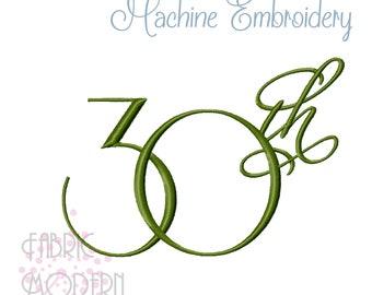 30th Fancy Script Embroidery Design  #1104