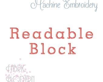 Readable Block Embroidery font alphabet 3 sizes #1161