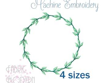 MONOGRAM WREATH simple minimalist Embroidery Design  #1110