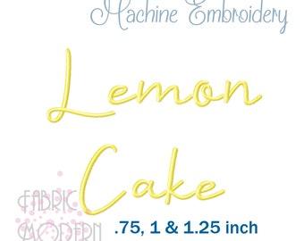 Lemon Cake Embroidery font alphabet 3 sizes #1095