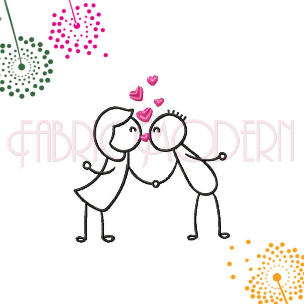 9ffdb0f91 STICK FIGURES couple kissing Embroidery Design girl and boy | Etsy
