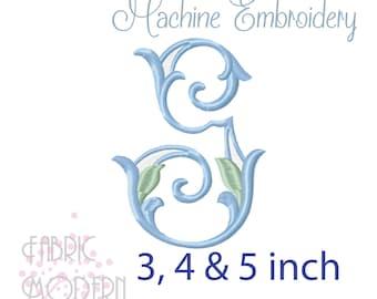 Letter G MONOGRAM Embroidery Design Large vintage single #1128-G