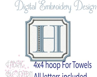 COMPLETE Towel and Plush Fabric Square monogram Embroidery Design  #1149-4
