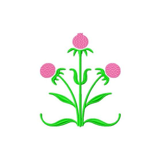 Machine Embroidery Design Thistle Design Flower Design Simple Etsy