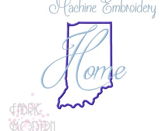 Indiana HOME State outline Embroidery Design