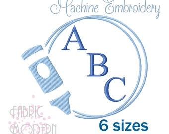 CRAYON monogram Frame Machine Embroidery Design 6 sizes #1167