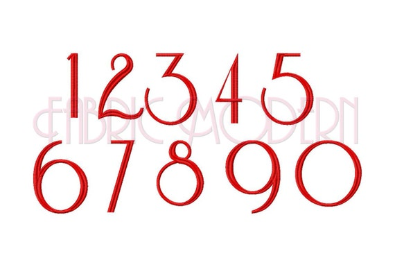 Numbers Embroidery Design    font numbers 0 through 9  2 in  3in and 4in  #343