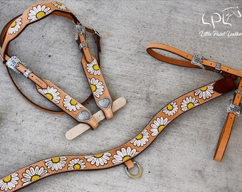 Tripping Collar//Choker Vegetable Tanned Leather Breast Collar Blank Horse Tack