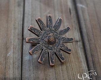 Handmade Spur Rowel Necklace w Aztec concho