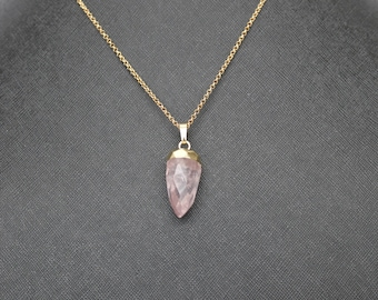 Rose Quartz Drop Pendant Necklace