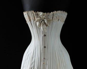 SOLD Antique corset, unworn, Edwardian corset, striped corset,