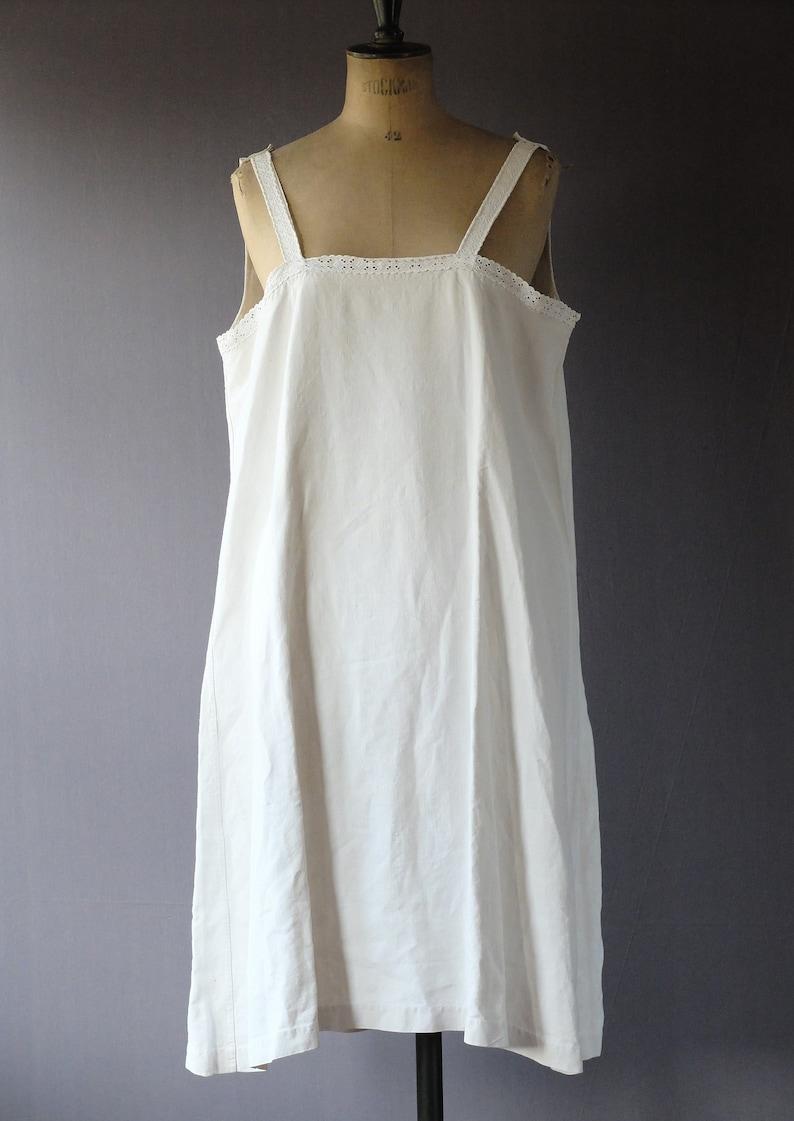 8090222bf6 1920s cream linen cotton slip dress night gown chemise