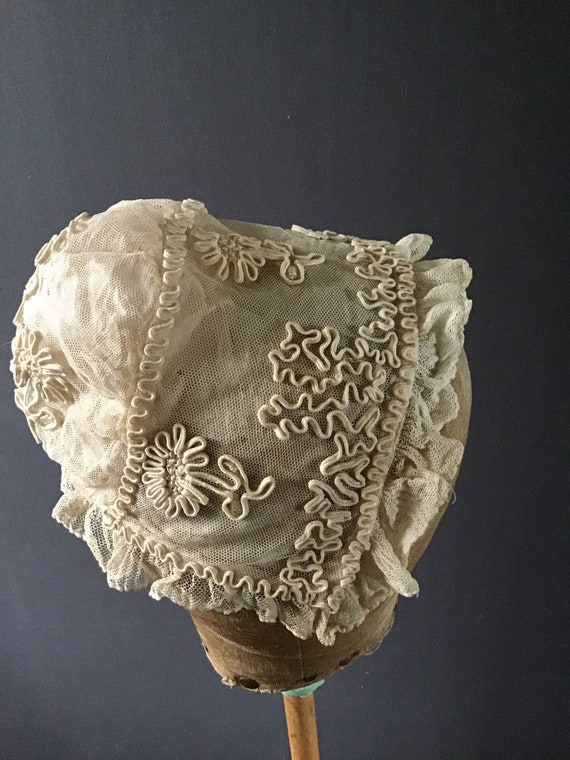 1920s childs lace bonnet with soutache embroidery