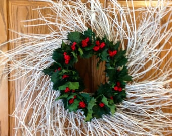 """28"""" white twig wreath with holly"""