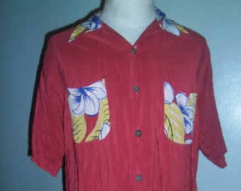0aacfa0d Fantastic AVANTI Red Hawaiian Silk Shirt , Design Vahine in Back , made in  China ,Size M , Excellent Condition