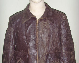 dfeb43147d2 Early 50 s Hercules by Sears Brown Sport Motorcycle Leather Jacket