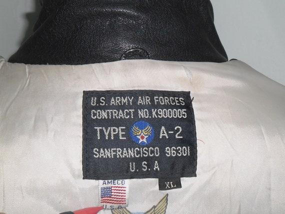 90 ' ' 90 s Vintage Ameco Type A-2, doublure AAF Army Air Force, veste de cuir couleur noir, taille XL, Made in usa, excellent état aa3e4e