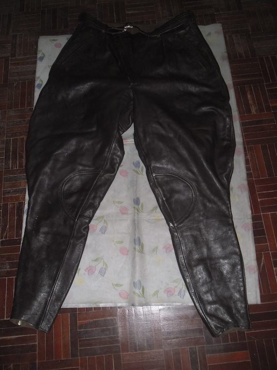 Late 40's Pants Breeches , Brown Motorcyclist Leat