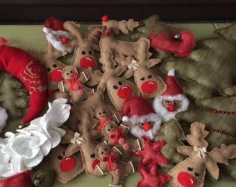 Christmas decorations Reindeer/Santa/Ginger Bread Man - JUTE